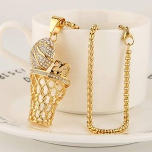 Other - Men's 18k Gold Silver Plated Basketball Rim Chain